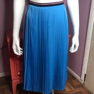 Tommy Hilfiger Blue Pleated Calf Length Skirt